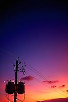 Telephone pole and power line.