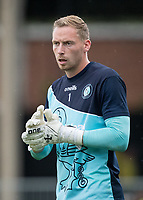 Goalkeeper Ryan Allsop of Wycombe Wanderers pre match during the 2018/19 Pre Season Friendly match between Maidenhead United and Wycombe Wanderers at York Road, Maidenhead, England on 27 July 2018. Photo by Andy Rowland.