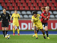 2018013 - LILLE , FRANCE : LOSC's Silke Demeyere (R) and PSG's Formiga (L) pictured during the women soccer game between the women teams of Lille OSC and Paris Saint Germain  during the 13 th matchday for the Championship D1 Feminines at stade Lille Metropole , Saturday 13th of January ,  PHOTO Dirk Vuylsteke | Sportpix.Be