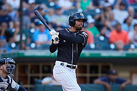 Nick Williams (5) of the Charlotte Knights follows through on his swing against the Gwinnett Stripers at Truist Field on July 15, 2021 in Charlotte, North Carolina. (Brian Westerholt/Four Seam Images)