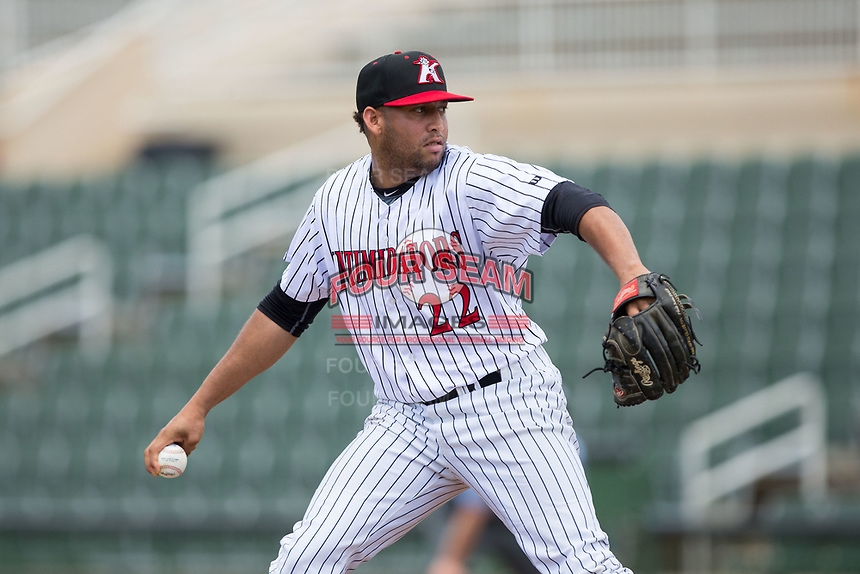 Kannapolis Intimidators starting pitcher Kelvis Valerio (22) in action against the West Virginia Power at Kannapolis Intimidators Stadium on June 18, 2017 in Kannapolis, North Carolina.  The Intimidators defeated the Power 5-3 to win the South Atlantic League Northern Division first half title.  It is the first trip to the playoffs for the Intimidators since 2009.  (Brian Westerholt/Four Seam Images)