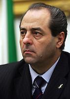 Il presidente dell'Italia dei Valori Antonio Di Pietro durante la conferenza stampa a Roma, 7 marzo 2008, per la presentazione dei candidati alle prossime elezioni..UPDATE IMAGES PRESS/Riccardo De Luca.
