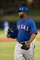 AZL Rangers hitting coach Jeremy Moore (43) during an Arizona League game against the AZL Giants Black at Scottsdale Stadium on August 4, 2018 in Scottsdale, Arizona. The AZL Giants Black defeated the AZL Rangers by a score of 6-3 in the second game of a doubleheader. (Zachary Lucy/Four Seam Images)