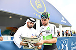 Mark Cavendish (GBR) Team Dimension Data at sign on before the start of Stage 4 The Municipality Stage of the Dubai Tour 2018 the Dubai Tour's 5th edition, running 172km from Skydive Dubai to Hatta Dam, Dubai, United Arab Emirates. 9th February 2018.<br /> Picture: LaPresse/Massimo Paolone | Cyclefile<br /> <br /> <br /> All photos usage must carry mandatory copyright credit (© Cyclefile | LaPresse/Massimo Paolone)