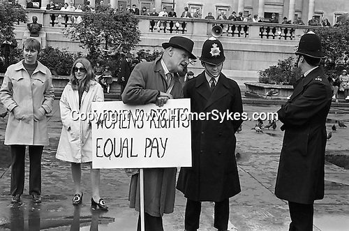 Womens Rights. Equal Pay for Women. Rally Trafalgar Square central London England 1968.