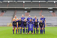team Anderlecht ( goalkeeper Justien Odeurs (13) of Anderlecht , Tine De Caigny (6) of Anderlecht , Britt Vanhamel (4) of Anderlecht , Tessa Wullaert (27) of Anderlecht , Laura De Neve (8) of Anderlecht and Elke Van Gorp (7) of Anderlecht , Sarah Wijnants (11) of Anderlecht , Charlotte Tison (20) of Anderlecht , Mariam Abdulai Toloba (19) of Anderlecht , Laura Deloose (14) of Anderlecht , Stefania Vatafu (10) of Anderlecht ) pictured before a female soccer game between RSC Anderlecht Dames and Oud Heverlee Leuven on the seventh matchday of play off 1 of the 2020 - 2021 season of Belgian Womens Super League , saturday 15 th of May 2021  in Brussels , Belgium . PHOTO SPORTPIX.BE | SPP | STIJN AUDOOREN