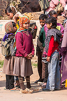 Abnaheri, Rajasthan, India.  Hindu Village Children on their way home from School.