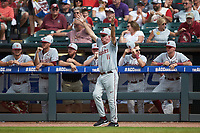 Florida State Seminoles head coach Mike Martin reacts to a call during the game against the Louisville Cardinals in Game Eleven of the 2017 ACC Baseball Championship at Louisville Slugger Field on May 26, 2017 in Louisville, Kentucky. The Seminoles defeated the Cardinals 6-2. (Brian Westerholt/Four Seam Images)