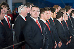 The Welsh rugby team celebrate winning the Grand Slam in the Six Nations rugby tournament at The Senydd in Cardiff Bay..Wales Ken Owens lined up for the crowd.