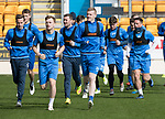 St Johnstone Training…04.04.17<br />Steven MacLean, Liam Craig and Brain Easton lead a run during training this morning ahead of tomorrow's game against Hearts<br />Picture by Graeme Hart.<br />Copyright Perthshire Picture Agency<br />Tel: 01738 623350  Mobile: 07990 594431