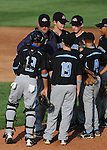 14 August 10: Ocala players have a conference at the mound during their 15-1 win in the Cal Ripken Babe Ruth World Series 12U Majors in Aberdeen, Maryland