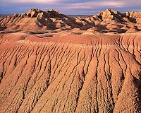 Morning light on eroded formations; Badlands National Park, SD