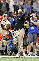 Feb 3, 2013; New Orleans, LA, USA; San Francisco 49ers head coach Jim Harbaugh reacts in the closing seconds of the game against the Baltimore Ravens in Super Bowl XLVII at the Mercedes-Benz Superdome. Mandatory Credit: Mark J. Rebilas-