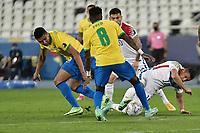 2nd July 2021; Nilton Santos Stadium, Rio de Janeiro, Brazil; Copa America, Brazil versus Chile; Casemiro of Brazil and Alexis Sánchez of Chile challenge for the loose ball