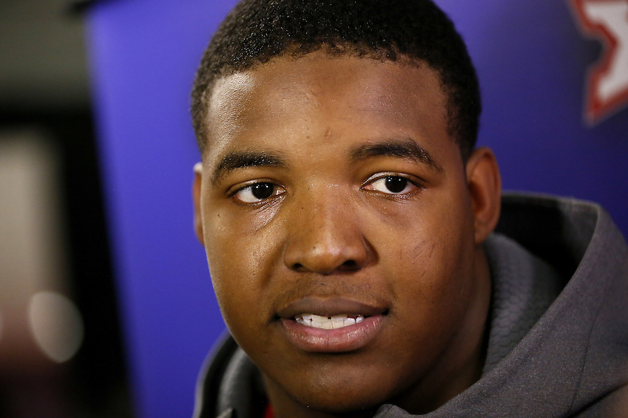 Mississippi defensive tackle Breeland Speaks (9) talks to media during a news conference Wednesday Dec. 30, 2015, in New Orleans. Mississippi is set to face Oklahoma State in the Sugar Bowl on New Year's Day. (AP Photo/Jonathan Bachman)