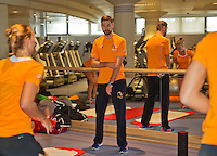 Moskou, Russia, Februari 4, 2016,  Fed Cup Russia-Netherlands,  Dutch team in the fitness,  with fysio Edwin Visser<br /> Photo: Tennisimages/Henk Koster