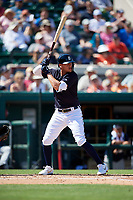 Detroit Tigers center fielder JaCoby Jones (21) at bat during a Grapefruit League Spring Training game against the Atlanta Braves on March 2, 2019 at Publix Field at Joker Marchant Stadium in Lakeland, Florida.  Tigers defeated the Braves 7-4.  (Mike Janes/Four Seam Images)