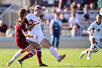 Texas A&M forward Liz Keester (9) attempt to control the ball during NCAA soccer game, Sunday, October 26, 2014 in College Station, Tex. South Carolina draw 2-2 against Texas A&M in double overtime. (Mo Khursheed/TFV Media via AP Images)