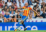 Simone Zaza (l) of Valencia CF in action during their La Liga 2017-18 match between Real Madrid and Valencia CF at the Estadio Santiago Bernabeu on 27 August 2017 in Madrid, Spain. Photo by Diego Gonzalez / Power Sport Images