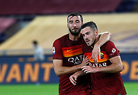 Roma s Jordan Veretout, right, is congratulated by his teammate Bryan Cristante after scoring on a penalty kick during the Serie A soccer match between Roma and Benevento at Rome's Olympic Stadium, October 18, 2020.<br /> UPDATE IMAGES PRESS/Riccardo De Luca