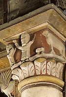 Europe/France/Auvergne/63/Puy-de-Dôme/Thuret: L'église (XIème siècle) - Détail chapiteau historié Moïse et le Veau d'or