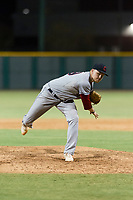 AZL Indians 2 relief pitcher Brendan Meyer (59) follows through on his delivery during an Arizona League game against the AZL Cubs 2 at Sloan Park on August 2, 2018 in Mesa, Arizona. The AZL Indians 2 defeated the AZL Cubs 2 by a score of 9-8. (Zachary Lucy/Four Seam Images)