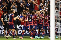 KANSAS CITY, KS - JULY 15: USA players and fans celebrate a goal during a game between Martinique and USMNT at Children's Mercy Park on July 15, 2021 in Kansas City, Kansas.