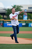 Actor Steve Hytner throws out the first pitch prior to a game between the Buffalo Bisons and the Lehigh Valley IronPigs on June 23, 2018 at Coca-Cola Field in Buffalo, New York.  Lehigh Valley defeated Buffalo 4-1.  (Mike Janes/Four Seam Images)