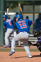 Chicago Cubs third baseman Jesse Hodges (19) during a Minor League Spring Training game against the Colorado Rockies at Sloan Park on March 27, 2018 in Mesa, Arizona. (Zachary Lucy/Four Seam Images)
