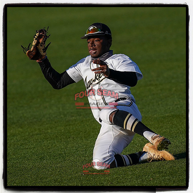 Right fielder Darius Griffin (2) of the Greer High School Yellow Jackets slides to make a catch in a game against the T.L Hanna High School Yellow Jackets on Saturday, March 20, 2021, at Fluor Field at the West End in Greenville, South Carolina. Hanna won, 4-3. (Tom Priddy/Four Seam Images)