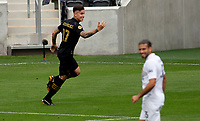 LOS ANGELES, CA - OCTOBER 25: Brian Rodriguez #17 of  LAFC celebrates a goal during a game between Los Angeles Galaxy and Los Angeles FC at Banc of California Stadium on October 25, 2020 in Los Angeles, California.