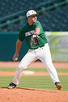 Relief pitcher Travis Miller #16 of the Miami Hurricanes in action against the Boston College Eagles at the 2010 ACC Baseball Tournament at NewBridge Bank Park May 27, 2010, in Greensboro, North Carolina.  The Eagles defeated the Hurricanes 12-10 in 10 innings.  Photo by Brian Westerholt / Four Seam Images