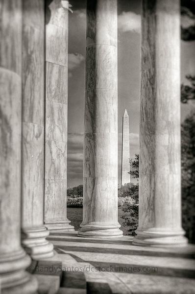 Jefferson Memorial Washington Monument Washington DC Architecture Black and White Photography Washington DC Art - - Framed Prints - Wall Murals - Metal Prints - Aluminum Prints - Canvas Prints - Fine Art Prints Washington DC Landmarks Monuments Architecture