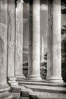 Jefferson Memorial Washington Monument Washington DC Architecture Black and White Photography Washington DC Art - - Framed Prints - Wall Murals - Metal Prints - Aluminum Prints - Canvas Prints - Fine Art Prints Washington DC Landmarks Monuments Architecture