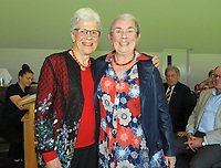 Cheryl Styles (right) with Trish McKelvey. Cricket Wellington membership badge presentations in the Long Room at the Basin Reserve in Wellington, New Zealand on Saturday, 14 November 2020. Photo: Dave Lintott / lintottphoto.co.nz
