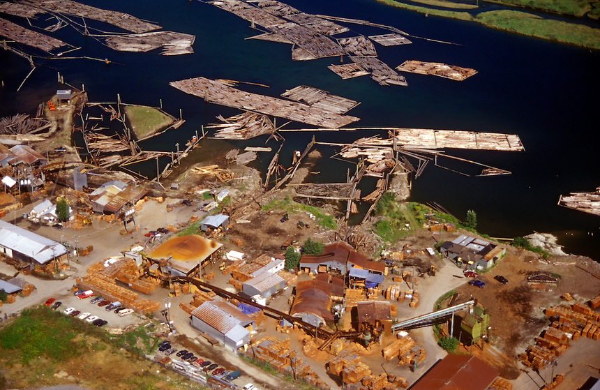 Lumber mill on the shore of the Fraser River. Fraser Valley, near Vancouver, British Columbia, Canada
