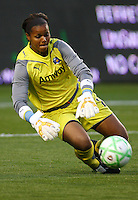 Karina LeBlanc #1 of the Los Angeles Sol makes a save against the Chicago Red Stars during their WPS game at The Home Depot Center on June 3,2009 in Carson, California.  The Sol and Red Stars tied 1-1.