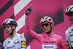 Race leader Maglia Rosa Joao Almeida (POR) Deceuninck-Quick Step at sign on before the start of Stage 13 of the 103rd edition of the Giro d'Italia 2020 running 192km from Cervia to Monselice, Italy. 16th October 2020.  <br /> Picture: LaPresse/Gian Mattia D'Alberto | Cyclefile<br /> <br /> All photos usage must carry mandatory copyright credit (© Cyclefile | LaPresse/Gian Mattia D'Alberto)
