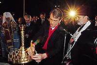 """- 20 years from the nuclear incident of Chernobyl, religious ceremony of the Orthodox Church in memory of the """"Liquidators"""", the civil and military personnel (more than 300.000 persons) that  worked in proibitive conditions and with  insufficient protections in order to put in safety the exploded reactor; the President of the Republic Ukraina Viktor Yushchenko ..- 20 anni dall'incidente nucleare di Chernobyl, cerimonia religiosa della Chiesa Ortodossa in memoria dei """"Liquidatori"""", il personale civile e militare (più di 300.000 persone) che operò in condizioni proibitive e con scarsissime protezioni per mettere in sicurezza il reattore esploso; il Presidente della Repubblica Ukraina Viktor Yushchenko"""
