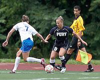 New York Fury forward Merritt Mathias (9) dribbles on the wing. In a Women's Premier Soccer League Elite (WPSL) match, the Boston Breakers defeated New York Fury, 2-0, at Dilboy Stadium on June 23, 2012.