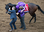 DEL MAR, CA - NOVEMBER 03: Ryan Moore, aboard Mendelssohn #1, gets a kiss after winning the Breeders' Cup Juvenile Turf on Day 1 of the 2017 Breeders' Cup World Championships at Del Mar Thoroughbred Club on November 3, 2017 in Del Mar, California. (Photo by Ting Shen/Eclipse Sportswire/Breeders Cup)