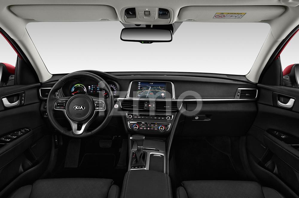 Stock photo of straight dashboard view of a 2017 KIA Optima Plug-In Hybrid Fusion 4 Door Sedan