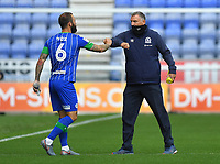 Blackburn Rovers' Manager Tony Mowbray bumps elbows with Wigan Athletic's Danny Fox<br /> <br /> Photographer Dave Howarth/CameraSport<br /> <br /> The EFL Sky Bet Championship - Wigan Athletic v Blackburn Rovers - Saturday 27th June 2020 - DW Stadium - Wigan<br /> <br /> World Copyright © 2020 CameraSport. All rights reserved. 43 Linden Ave. Countesthorpe. Leicester. England. LE8 5PG - Tel: +44 (0) 116 277 4147 - admin@camerasport.com - www.camerasport.com