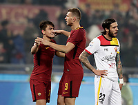 Calcio, Serie A: AS Roma - Benevento, Roma, stadio Olimpico, 11 gennaio 2018.<br /> Roma's Cengiz Under (l) celebrates with his teammate Edin Dzeko (r) after scoring his second goal in the match during the Italian Serie A football match between AS Roma and Benevento at Rome's Olympic stadium, February 11, 2018.<br /> UPDATE IMAGES PRESS/Isabella Bonotto