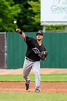 Quad Cities River Bandits third baseman Colton Shaver (37) throws to first base during a Midwest League game against the Beloit Snappers on May 20, 2018 at Pohlman Field in Beloit, Wisconsin. Beloit defeated Quad Cities 3-2. (Brad Krause/Four Seam Images)
