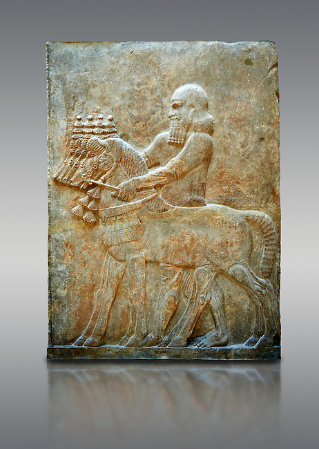 Stone relief sculptured panel of Horse Driver. Facade L. Inv AO 19883 from Dur Sharrukin the palace of Assyrian king Sargon II at Khorsabad, 713-706 BC.  Louvre Museum Room 4 , Paris