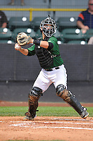 Clinton LumberKings James Alfonso (12) throws to second base during the Midwest League game against the Beloit Snappers at Ashford University Field on June 12, 2016 in Clinton, Iowa.  The LumberKings won 1-0.  (Dennis Hubbard/Four Seam Images)