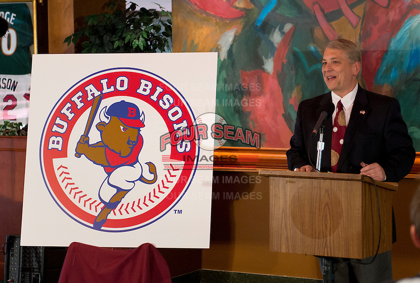Buffalo Bisons Vice President & General Manager Michael Buczkowski addresses the media during a press conference introducing the teams new logo and manager for their affiliation with the Toronto Blue Jays at Coco-Cola Field on November 20, 2012 in Buffalo, New York.  (Mike Janes/Four Seam Images)