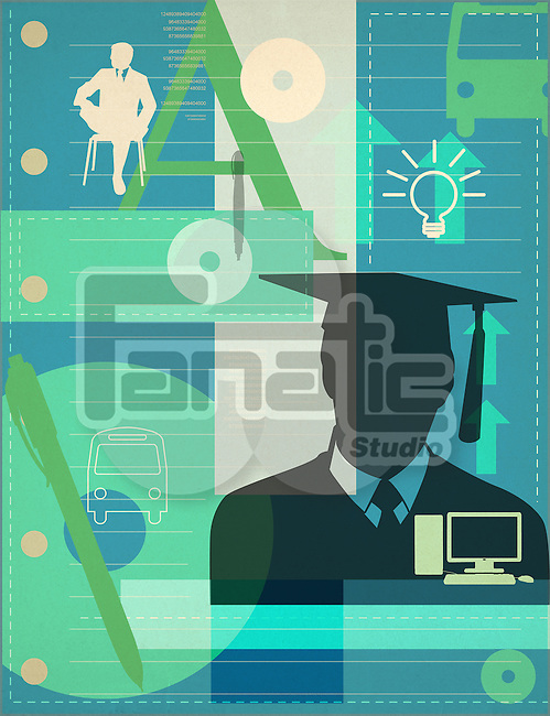 University student wearing a mortarboard