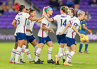 ORLANDO, FL - JANUARY 22: Lynn Williams #6 of the USWNT celebrates with Emily Sonnett #14 during a game between Colombia and USWNT at Exploria stadium on January 22, 2021 in Orlando, Florida.